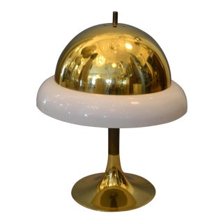 1950s Mid-Century Modern Italian Brass & Plastic Table Lamp For Sale