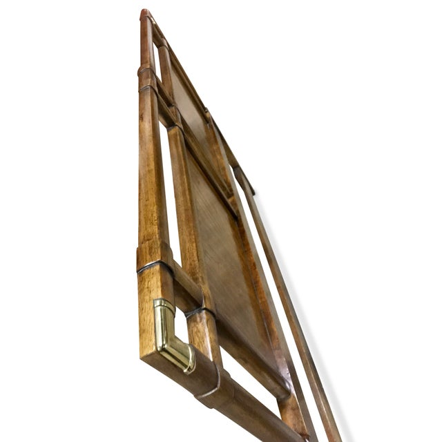 1960s Vintage Walnut and Brass Campaign Headboard by Drexel Queen Size For Sale - Image 5 of 10