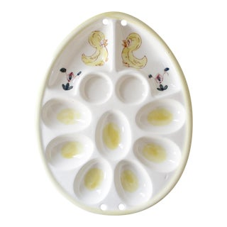 Vintage Deviled Egg Serving Platter Tray Ducks Mid Century Dish