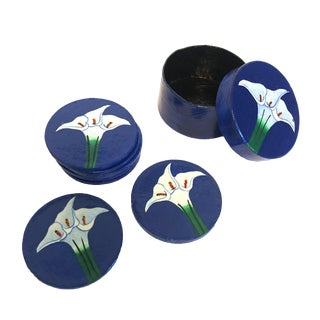 Hand-Painted Papier-Mâché Coasters - Set of 8 For Sale