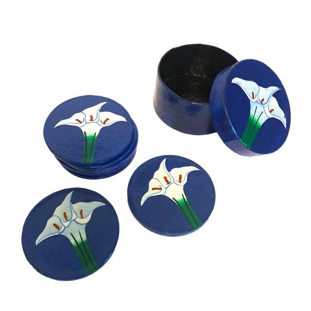 Hand-Painted Papier-Mâché Coasters - Set of 8 For Sale
