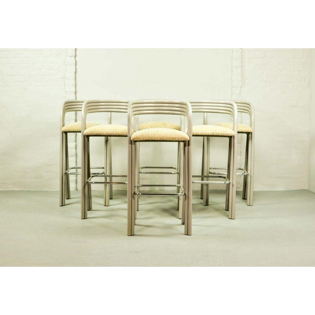 Mid-Century Modern Set of Six Mid-Century Dutch Design Luxurious Bamboo Barstools by Axel Enthoven for Rohé Holland, 1980's For Sale - Image 3 of 13