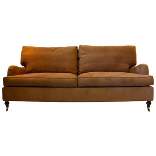 English Chestnut Brown Sofa For Sale