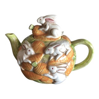 Vintage Bunnies& Carrots Teapot For Sale