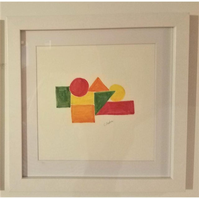 2010s Geometric Hand Painted Framed Acrylics by Christine Frisbee - Set of 6 For Sale - Image 5 of 9