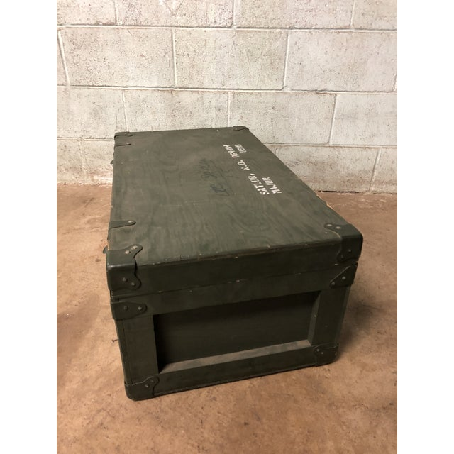 Green Vintage Industrial Green Wood Military Foot Locker Trunk W Tray For Sale - Image 8 of 12