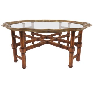 Hollywood Regency Faux Bamboo Coffee Table With Brass Framed Top For Sale