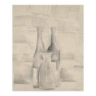 Still Life with Bottles in Graphite, Framed For Sale