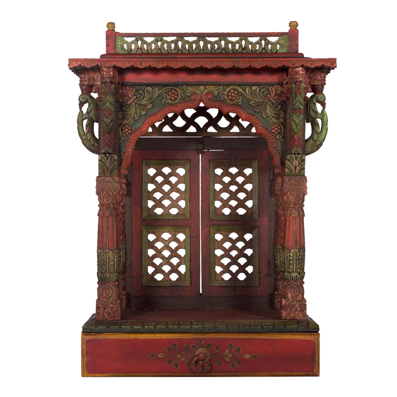 Teak Wood Hand Painted Pooja Mandir Home Temple Mandapam Chairish