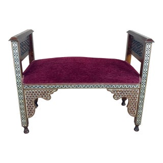 Fabulous Syrian Bench Mother of Pearl Inlaid W/Burgundy Upholstery For Sale