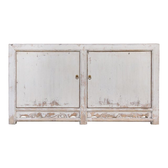 Antique White Farmhouse Rustic Asian Cabinet For Sale