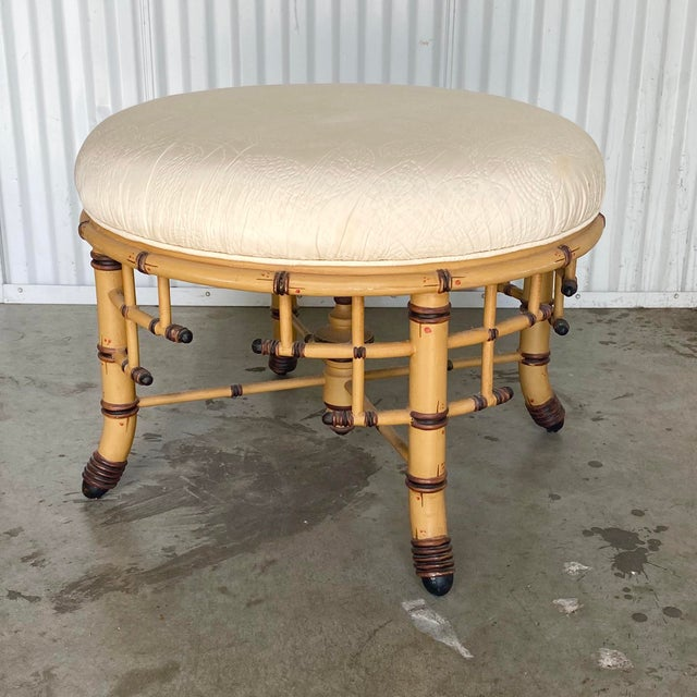 Mid 20th Century Hollywood Regency Bamboo Fretwork Ottoman For Sale - Image 5 of 8