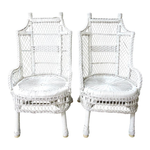 Vintage White Wicker and Cane High Back Conservatory Armchairs - a Pair For Sale