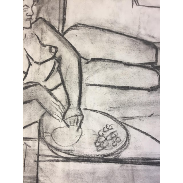 Asian 1950s Charcoal Female Lounging For Sale - Image 3 of 7