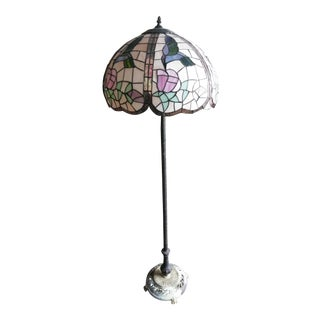 Vintage Tiffany Style Brass Floor Lamp For Sale