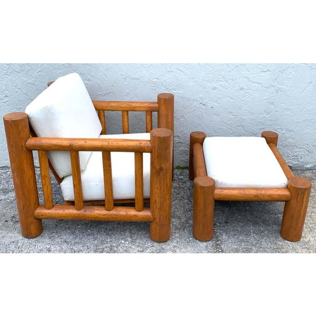 Brown Mid-Century Dowel Lounge Chair and Ottoman For Sale - Image 8 of 10