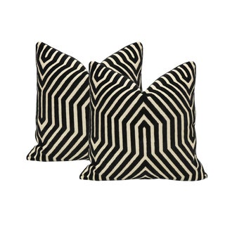 "18"" Vanderbilt Cut Velvet Pillows - a Pair For Sale"