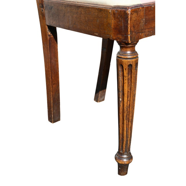 Early 19th Century Set of Four Italian Neoclassic Walnut Side Chairs For Sale - Image 5 of 9