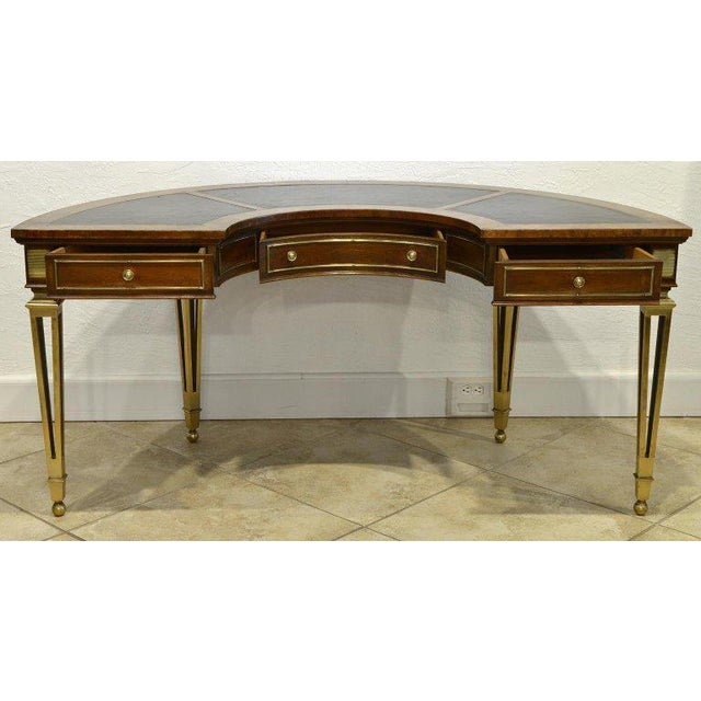 Mid-Century Modern Exceptional Midcentury Semi Circular Brass and Burled Wood Desk by Mastercraft For Sale - Image 3 of 13