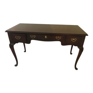 20th Century Queen Anne Drexel Cherry Desk Three Drawer Writing Desk For Sale