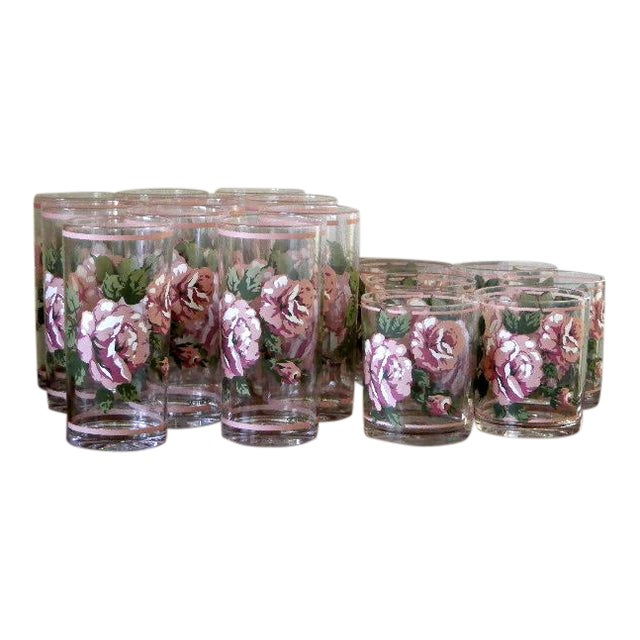 H. J. Stotter Plastic Tall Drinking & Tumbler Glasses With Roses - Set of 16 For Sale