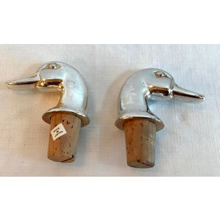 Vintage Mid-Century Modern Silver Plate Duck Head Bottle Stoppers - a Pair Preview