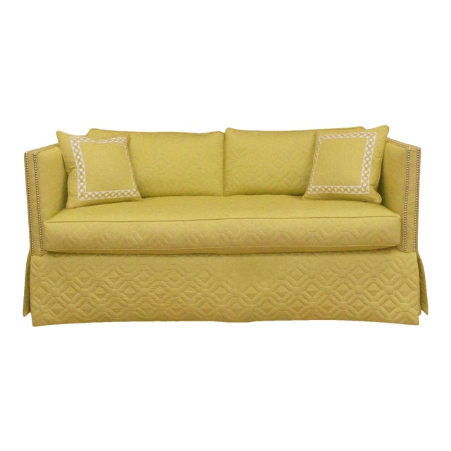 Wesley Hall Contemporary Blaine Sofa With Silver Nailhead Trim For Sale