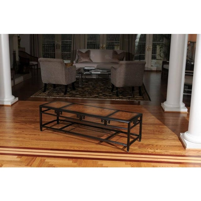"""Baker Furniture Company Elegant Burl Inlay Coffee Table, """"Far East"""" Collection by Baker For Sale - Image 4 of 11"""