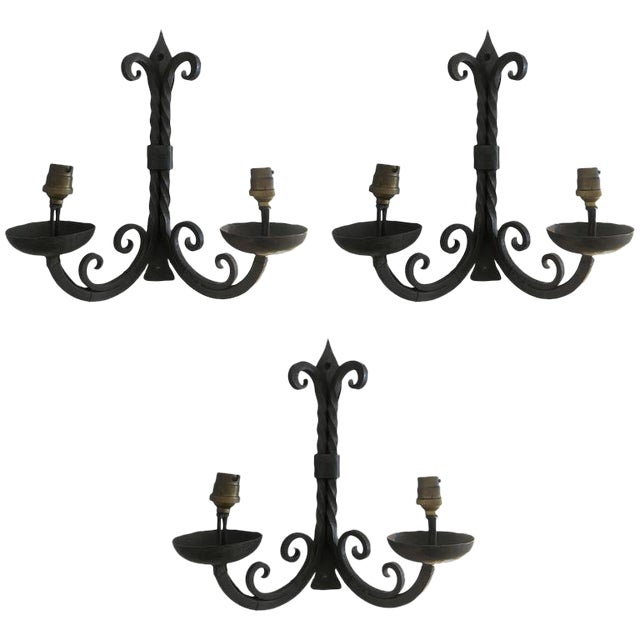French Two-Arm Wrought Iron Sconces For Sale