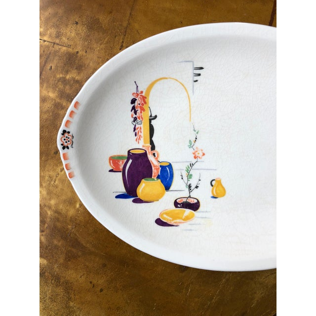 Rustic Paden City Pottery Southwestern Mexico Transferware Design Platter For Sale - Image 3 of 13