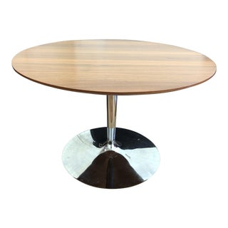 Calligaris Walnut + Chrome Tulip Table For Sale