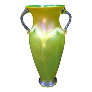 1998 Rick Strini Green Pulled Feather Iridescent Art Glass Vase