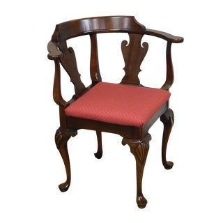 Queen Anne Style Vintage Mahogany Corner Chair For Sale