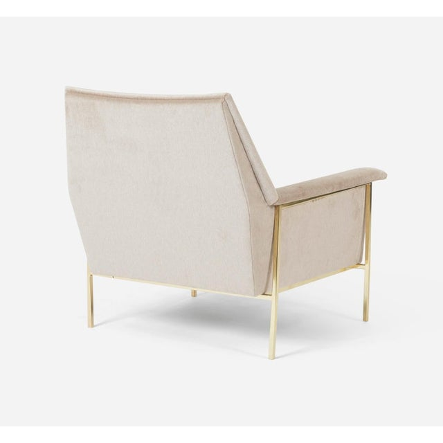 Hollywood Regency Velvet Upholstered Brass Frame Lounge Chair Attributed to Harvey Probber For Sale - Image 3 of 7