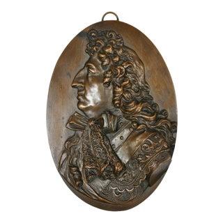 Antique Bronze Finish Relief Plaque Medal of Elizabethan Gentleman For Sale