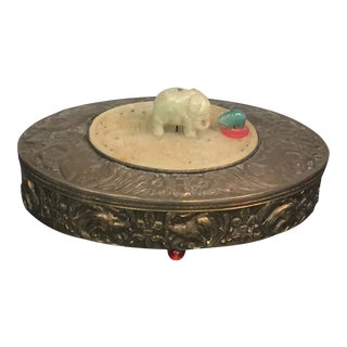 1930s Art Deco Brass Repousse Jade Elephant Oval Vanity Box For Sale