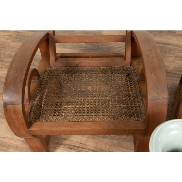 Teak Wood Country Chairs From Madura With Rattan Seats and Looping Arms - a Pair For Sale - Image 10 of 13