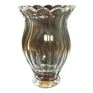 Large Moser Crystal Faceted Vase For Sale