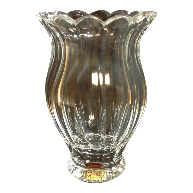 Large Moser Crystal Faceted Vase For Sale