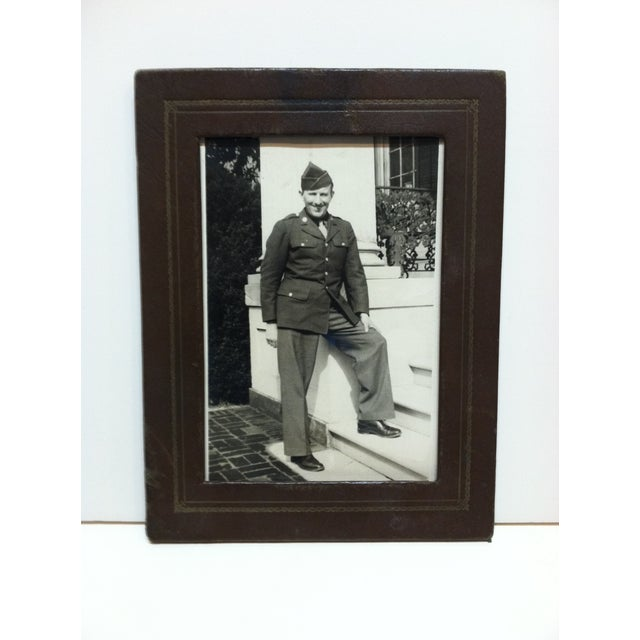 """Vintage Mid-Century """"Army Recruit"""" Black & White Photograph For Sale - Image 4 of 4"""