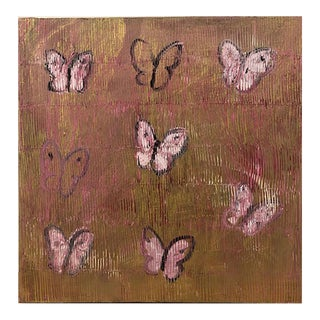 """""""Ascension in Pink"""" Contemporary Abstract Butterflies Oil Painting For Sale"""