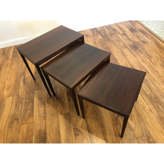 Danish Modern Bent Silberg Rosewood Nesting Tables For Sale - Image 3 of 11
