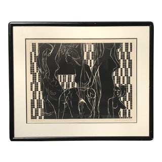 """Mid-Century Modern French Engraving """"Apris Le Bain"""" Abstract Nude Black & White For Sale"""