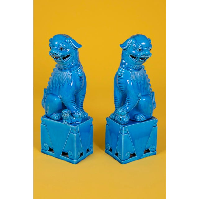 Oversize Pair of Vintage Turquoise Foo Dogs For Sale - Image 4 of 10