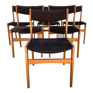 Scandinavian Upholstered Dining Chairs - Set of 6 For Sale