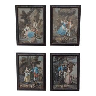 18th Century Hand Colored Mezzotints - Set of 4 For Sale