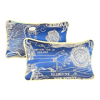 Handwoven Embroidery Vintage Lumbar Pillow With Rustic Piping - a Pair For Sale