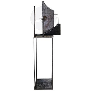 Handmade Steel and Lucite Sculpture on a Steel Stand For Sale