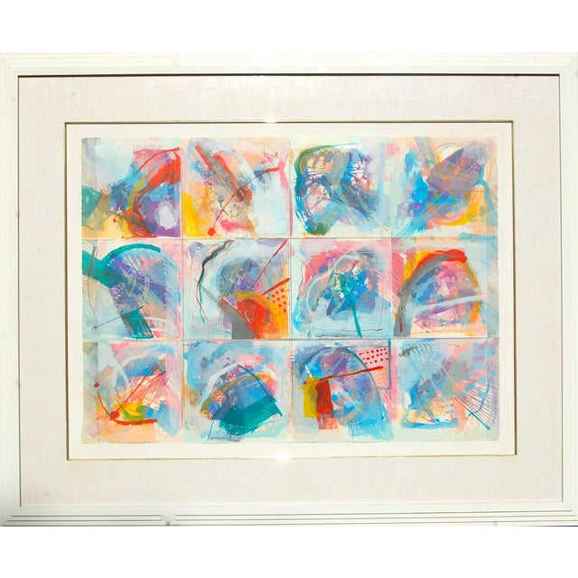 """Abstract Limited Edition """"Flowers in the Window"""" Framed Lithograph Artist Calman Shemi For Sale"""