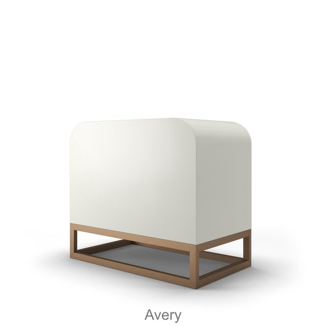 Introducing Avery, our low credenza with beautifully detailed doors, brushed brass accented acrylic handles, sitting ontop...